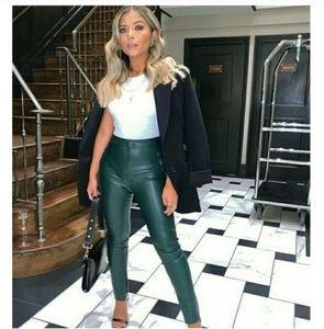 NWT Zara Green Faux Leather Leggings